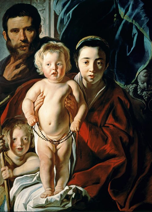 The Greeting Card featuring the painting The Holy Family With St. John The Baptist by Jacob Jordaens