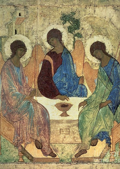 The Greeting Card featuring the painting The Holy Trinity by Andrei Rublev