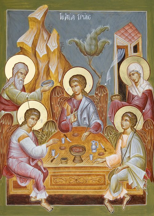 Holy Trinity Icon Greeting Card featuring the painting The Holy Trinity by Julia Bridget Hayes
