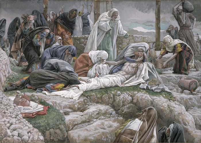 The Greeting Card featuring the painting The Holy Virgin Receives The Body Of Jesus by Tissot
