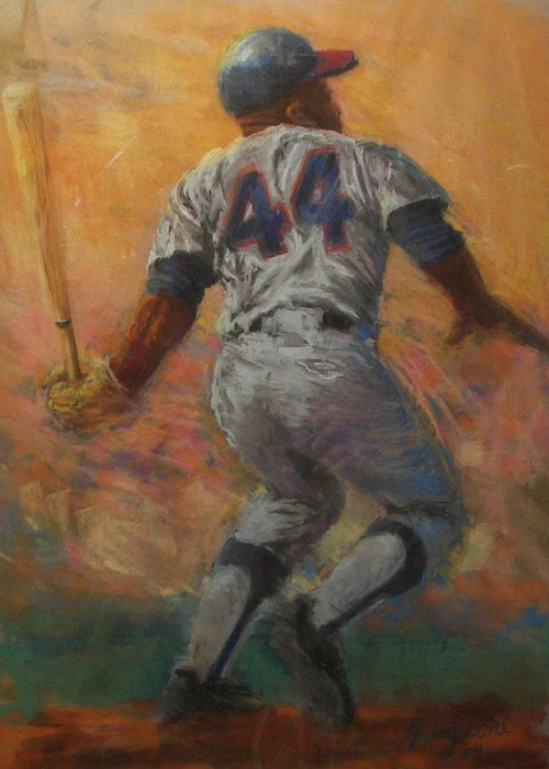Hank Greeting Card featuring the painting The Homerun King by Tom Forgione