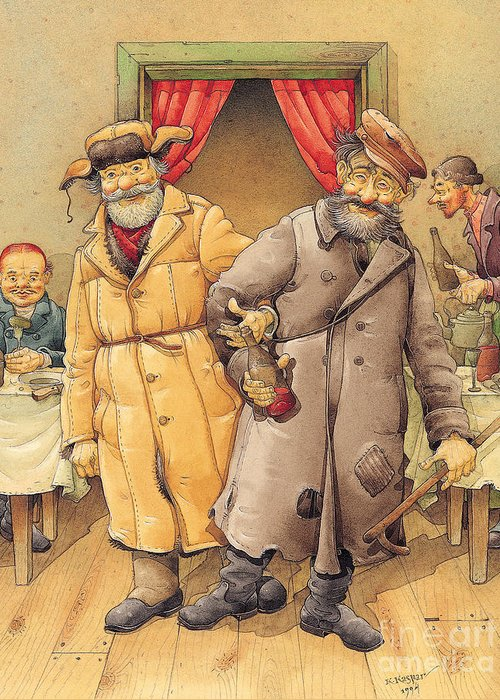 Russian Vodka Figures Pub Greeting Card featuring the painting The Honest Thief 01 Illustration For Book By Dostoevsky by Kestutis Kasparavicius