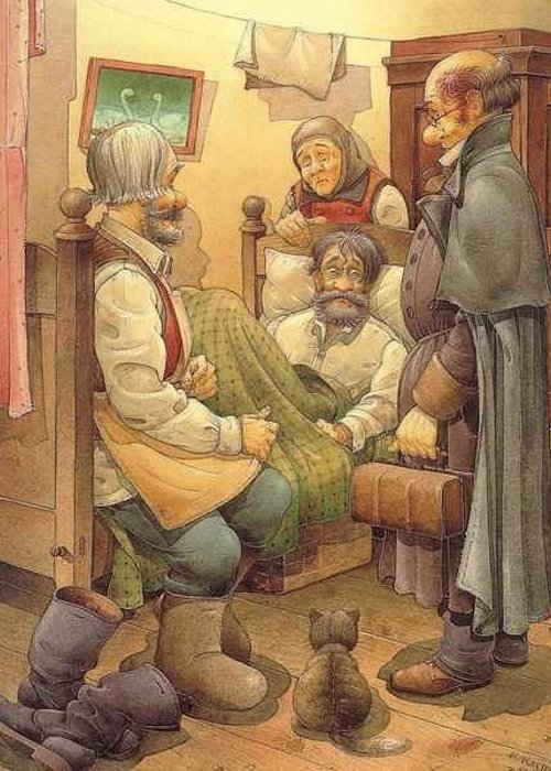 Russian Greeting Card featuring the painting The Honest Thief 09 Illustration for book by Dostoevsky by Kestutis Kasparavicius