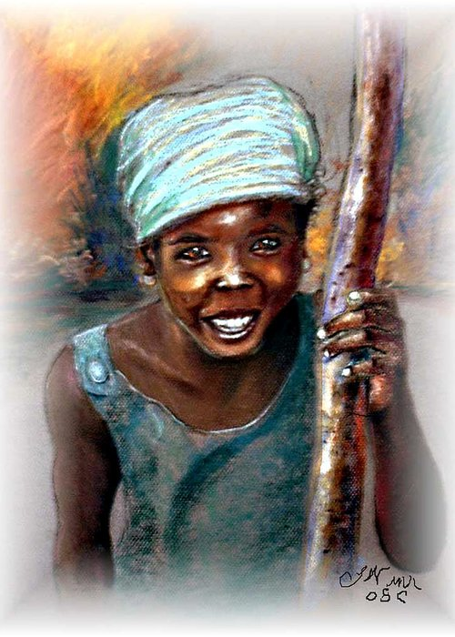 Children Greeting Card featuring the pastel The Hope Of Africa by Tommy Winn