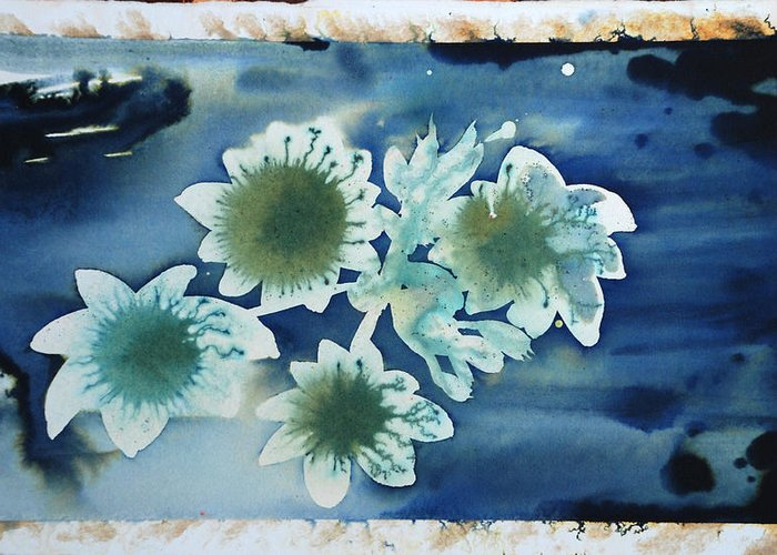 Blue Flowers Ink Dreamy Dream Blossom Greeting Card featuring the painting The Hopes And Dreams Of A Blossom On A Lake by Amy Bernays