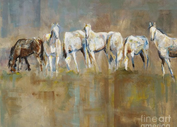Horses Greeting Card featuring the painting The Horizon Line by Frances Marino