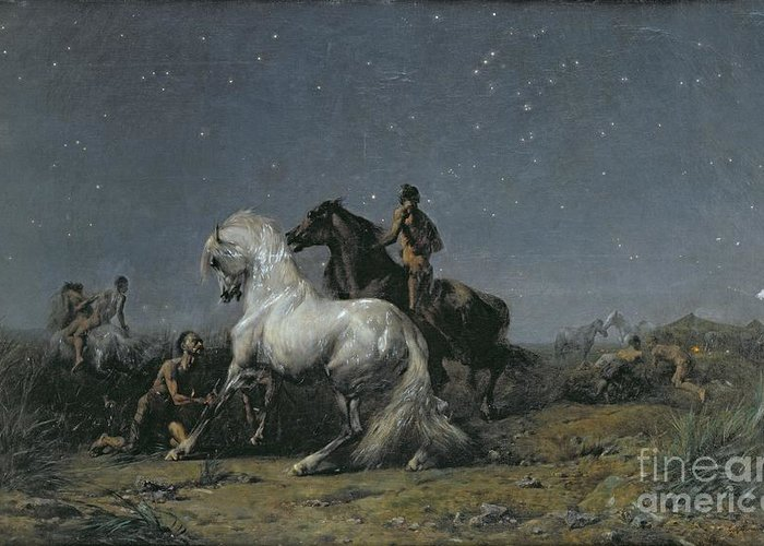 The Greeting Card featuring the painting The Horse Thieves by Ferdinand Victor Eugene Delacroix