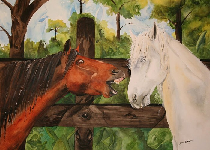 Horse Greeting Card featuring the painting The Horse Whisperers by Jean Blackmer