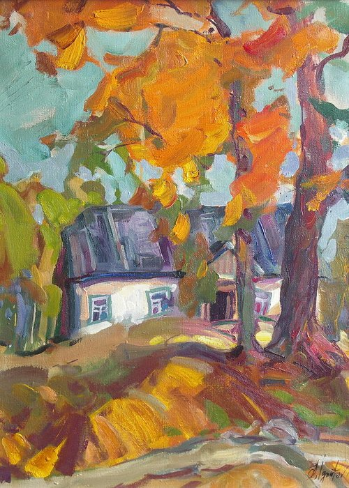 Oil Greeting Card featuring the painting The House In Chervonka Village by Sergey Ignatenko