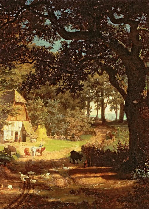 Albert Bierstadt Greeting Card featuring the painting The House In The Woods by Albert Bierstadt