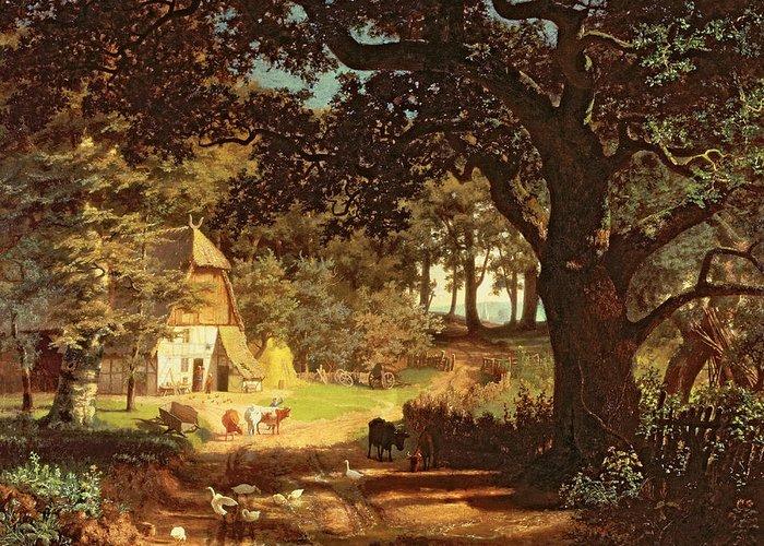 Albert Bierstadt Greeting Card featuring the painting The House In The Woods by Albert Bierstadt