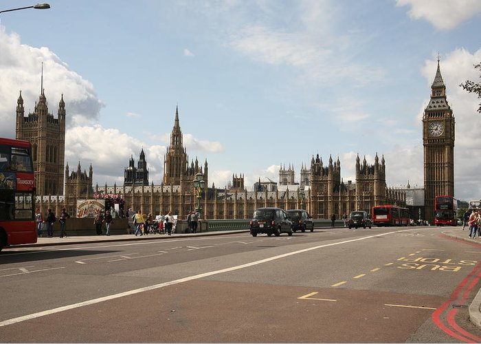 Busses Greeting Card featuring the photograph The Houses Of Parliament. by Christopher Rowlands
