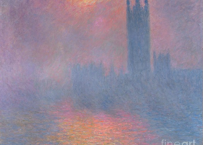 The Greeting Card featuring the painting The Houses Of Parliament London by Claude Monet