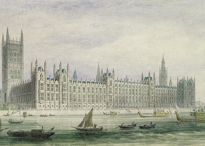 Xyc228384 Greeting Card featuring the photograph The Houses Of Parliament by Thomas Hosmer Shepherd