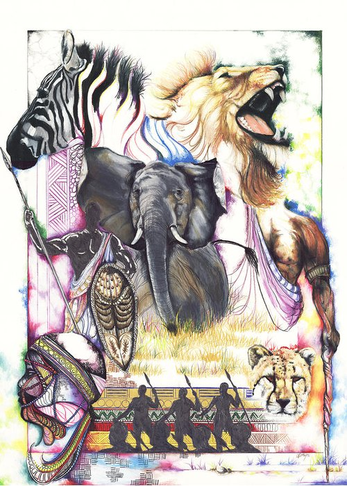 Hunt Greeting Card featuring the drawing The Hunt by Anthony Burks Sr