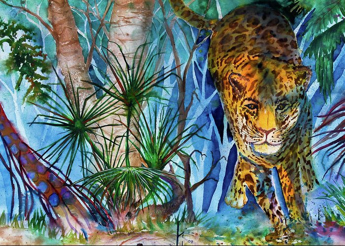 Preditor Cats Greeting Card featuring the painting The Hunt by Larry Johnson