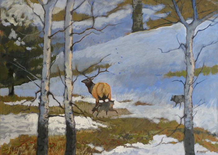 Elk Greeting Card featuring the painting The Hunt by Robert Bissett