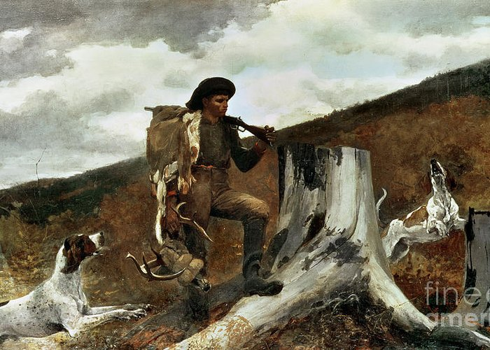 The Hunter And His Dogs Greeting Card featuring the painting The Hunter And His Dogs by Winslow Homer