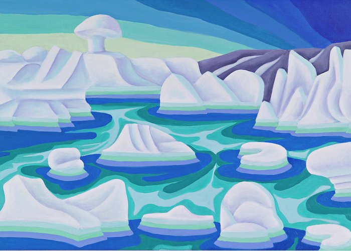 Arctic Greeting Card featuring the painting The Ice Calves by Lynn Soehner