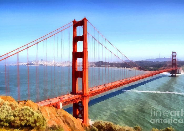 San Francisco Greeting Card featuring the photograph The Iconic San Francisco Golden Gate Bridge . 7D14507 by Wingsdomain Art and Photography