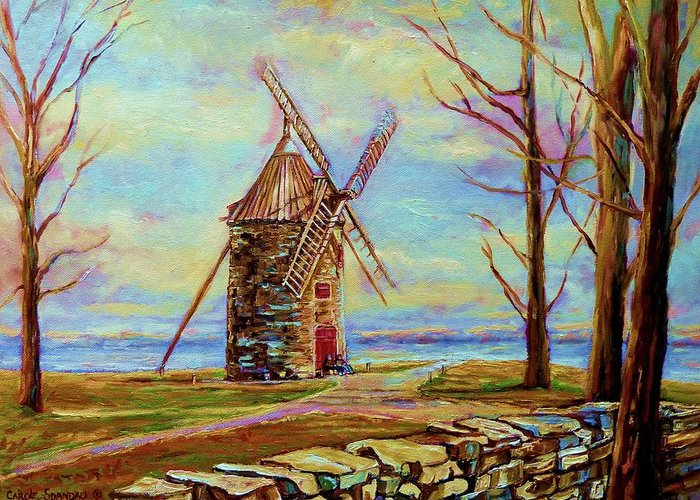 Ile Perrot Windmill Greeting Card featuring the painting The Ile Perrot Windmill Moulin Ile Perrot Quebec by Carole Spandau
