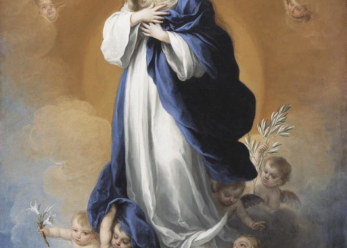 The Greeting Card featuring the painting The Immaculate Conception by Bartolome Esteban Murillo