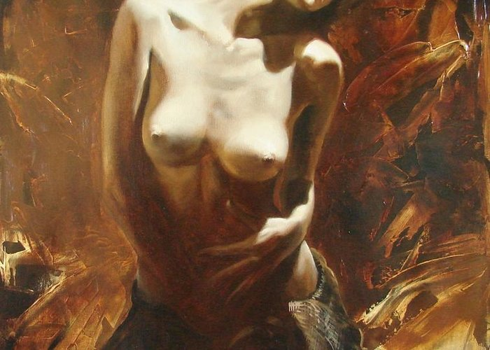 Oil Greeting Card featuring the painting The Incinerating Passion by Sergey Ignatenko