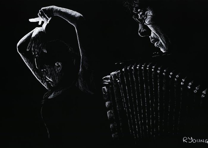 Musician Greeting Card featuring the pastel The Intensity Of Flamenco by Richard Young