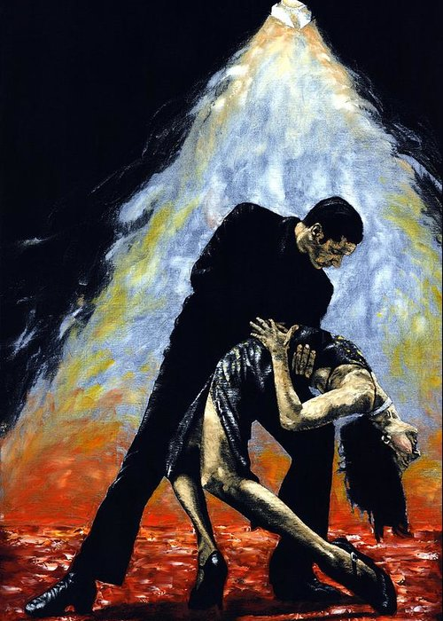 Tango Greeting Card featuring the painting The Intoxication Of Tango by Richard Young