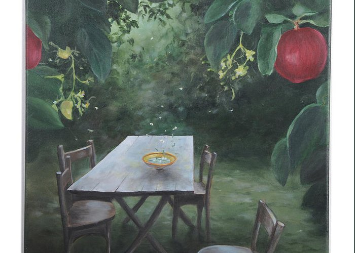 Apples Greeting Card featuring the painting The Invitation by Lynda McLaughlin