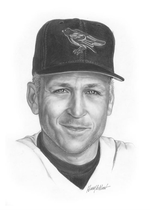 Cal Ripken Greeting Card featuring the drawing The Iron Man II by Harry West
