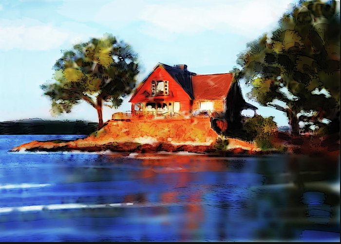 Lake Greeting Card featuring the digital art The Island House by Russell Pierce