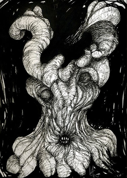 Surreal Drawing Greeting Card featuring the drawing The Itch by Mark M Mellon