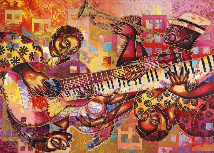 Figurative Greeting Card featuring the painting The Jazz Dimension by Larry Poncho Brown