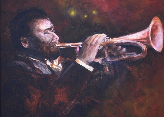Trumpet Greeting Card featuring the painting The Jazz Player by Jun Jamosmos