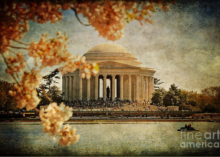 Jefferson Memorial Greeting Card featuring the photograph The Jefferson Memorial by Lois Bryan