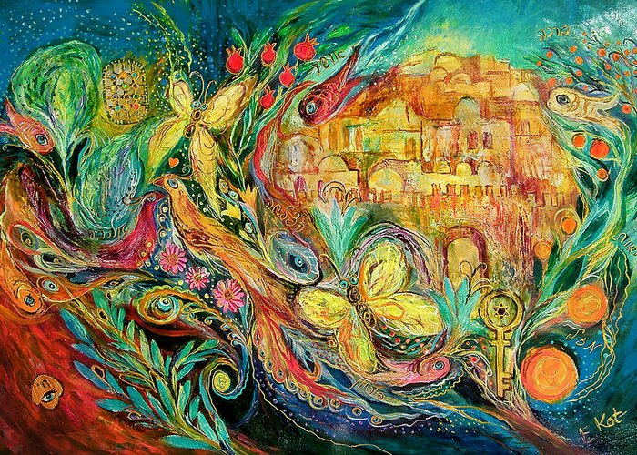 Original Greeting Card featuring the painting The Jerusalem Key by Elena Kotliarker