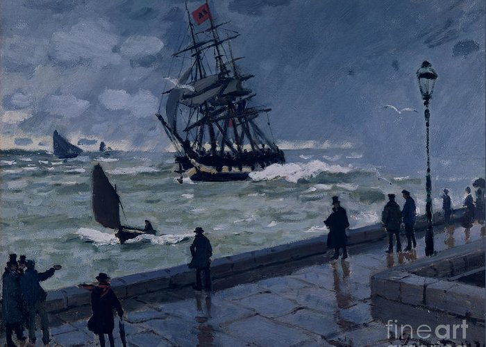 The Jetty At Le Havre Greeting Card featuring the painting The Jetty At Le Havre In Bad Weather by Claude Monet