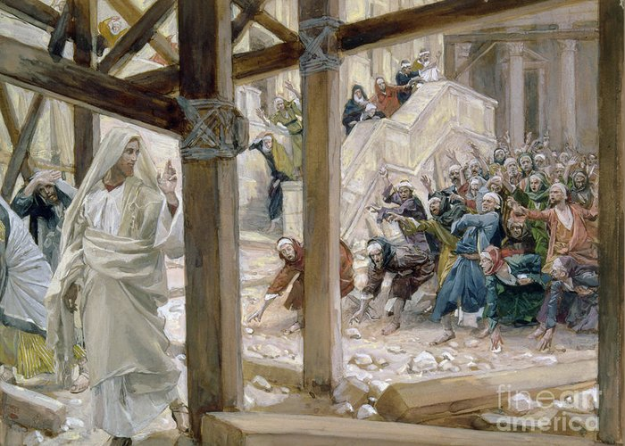 Jesus Greeting Card featuring the painting The Jews Took Up Stones To Cast At Him by Tissot