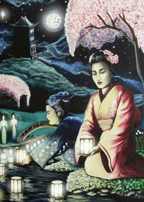 Asian Greeting Card featuring the painting The Journey by Amber Stanford