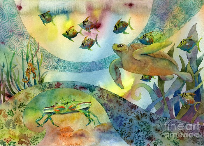 Seaturtle Greeting Card featuring the painting The Journey Begins by Amy Kirkpatrick