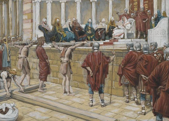 Tissot Greeting Card featuring the painting The Judgement On The Gabbatha by Tissot