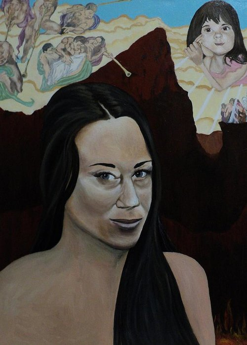 Casey Anthony Greeting Card featuring the painting The Judgment Of Casey Anthony The Sacrifice Of Caylee Anthony by Angelo Thomas