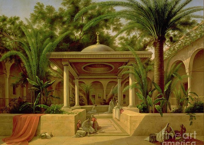 The Greeting Card featuring the painting The Khabanija Fountain In Cairo by Grigory Tchernezov
