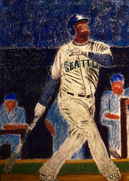 Ken Griffey Jr. Greeting Card featuring the painting The Kid Feat Ken Griffey Jr by D Rogale