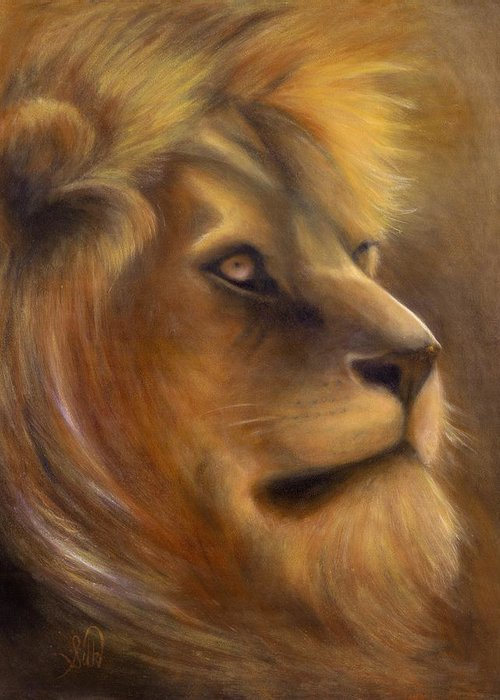 Regal Greeting Card featuring the painting The King by Elizabeth Silk