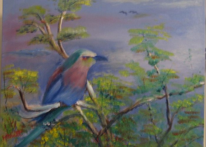 Bird Greeting Card featuring the painting The King Fisher by M Bhatt