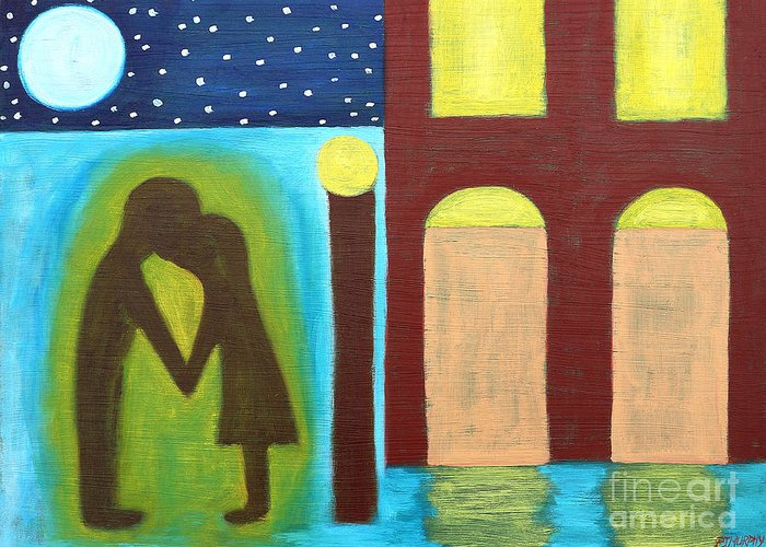 Love Greeting Card featuring the painting The Kiss Goodnight by Patrick J Murphy