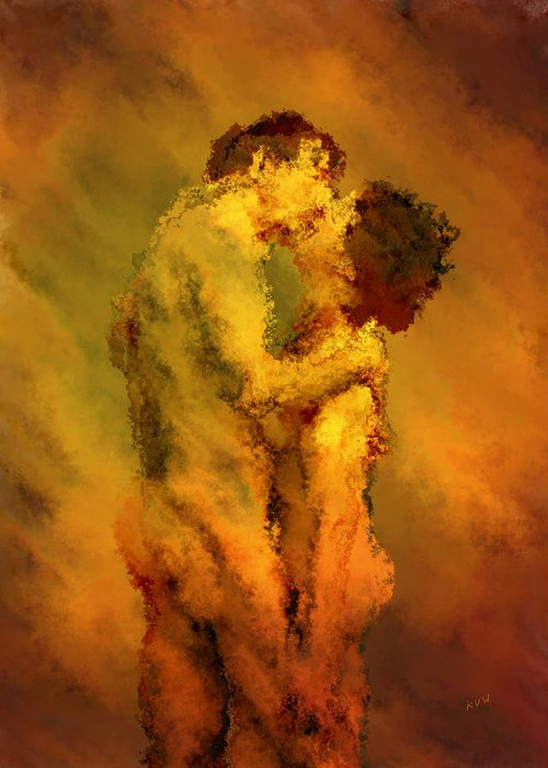 Nudes Greeting Card featuring the photograph The Kiss by Kurt Van Wagner