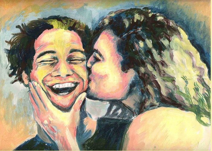 Man Greeting Card featuring the painting The Kiss by Nicole Zeug